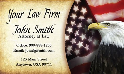 Vintage Eagle And American Flag Attorney Business Cards