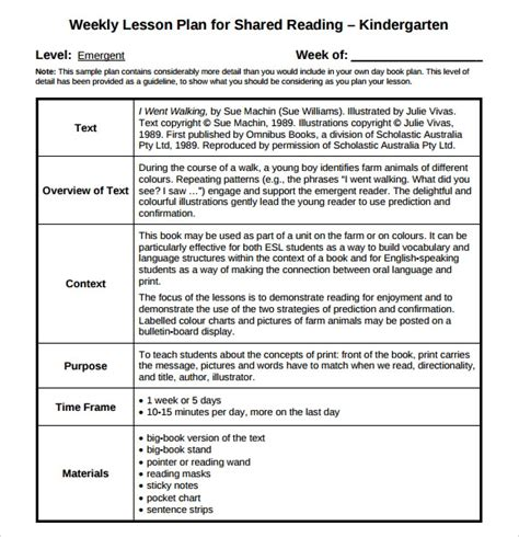 sample guided reading lesson plan 8 documents in pdf 146 | Kindergarten Weekly Lesson Plan Template