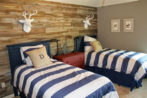 wood feature walls woodland themed boys room shared