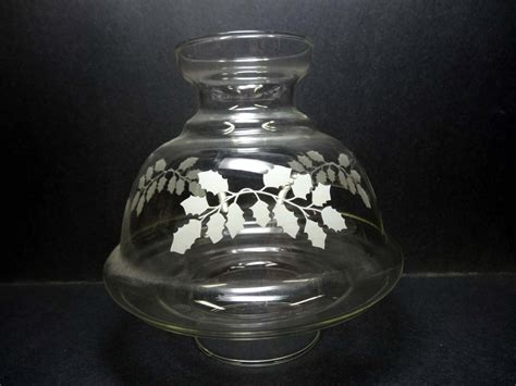 etched glass light shades clear glass l shade etched with holly leaves christmas