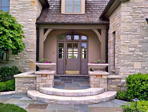 Farmhouse Kitchen Island Ideas - front entry landscaping landscape farmhouse with edging