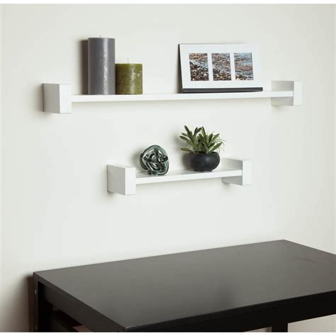 White Shelves On Wall by Honey Can Do 15 75 In X 3 94 In H Shape White Wall Shelf
