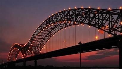 Memphis Bridge Arkansas Wallpapers Construction Evening Lights