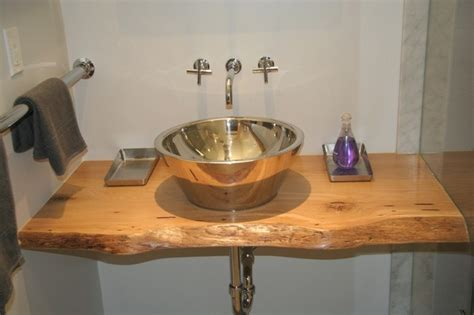 Vanity Tops Toronto - reclaimed live edge white oak slab vanity top