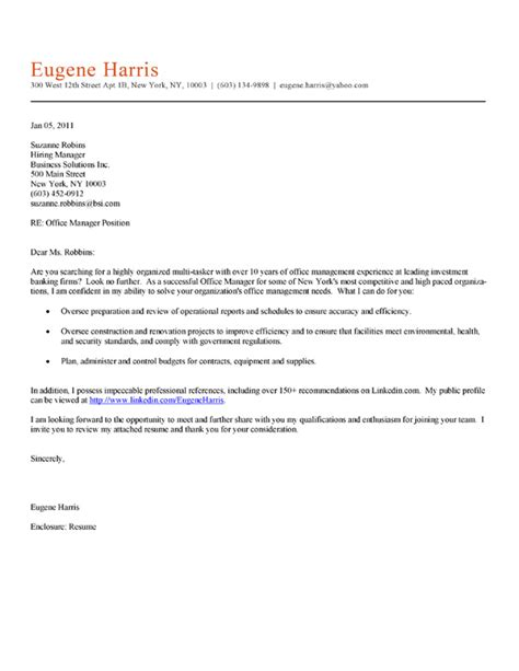 Cover Letter For Office Staff by Office Manager Cover Letter Exle