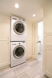 Stacked, Washer, And, Dryer, Units, In, Laundry, Room