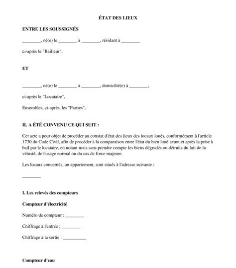 modèle état des lieux bail commercial modele etat des lieux location meublee word document