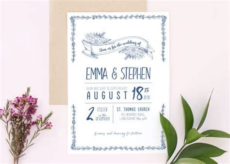 Botanical Biro Wedding Invitation Stationery Invites Save