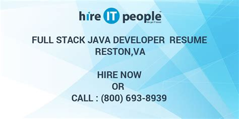full stack java developer resume restonva hire