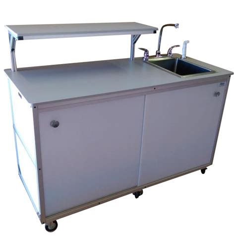fsc 002 food service cart with serving shelp and portable sink