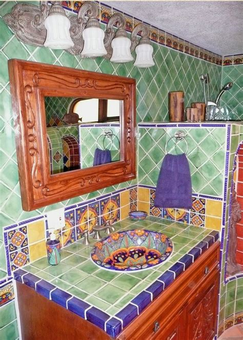 bathroom using mexican tiles by kristiblackdesigns