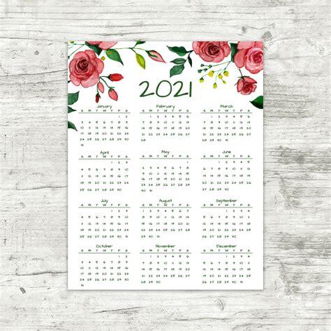 year   glance calendar red roses printable