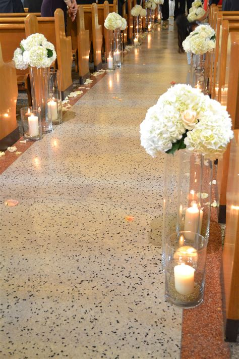 Wedding Church Ceremony Candles And Flowers Along