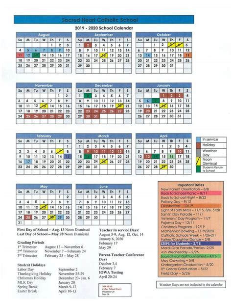 school calendar sacred heart catholic school conroe tx