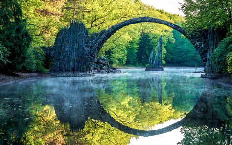 landscape nature river bridge reflection stones