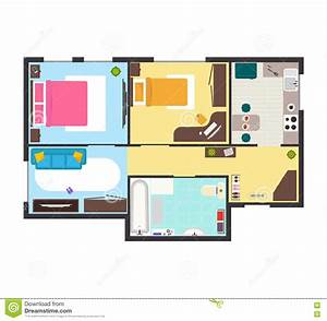 Apartment Floor Plan With Furniture Top View Vector Stock