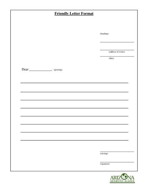 friendly letter template friendly letter format letters free sle letters 8842