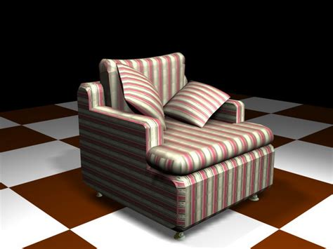 Red Striped Sofa Chair 3d Model 3d Studio,3ds Max Files