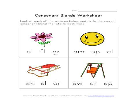consonant blends worksheets for kindergarten consonant