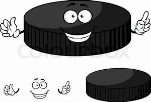 Happy Cartoon Hockey Puck Character With A Beaming Smile