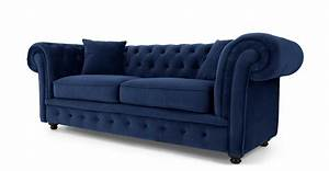 Branagh 2 seater chesterfield sofa electric blue velvet for Canapé chesterfield