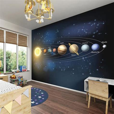 solar system universe planets wallpaper mural outer space