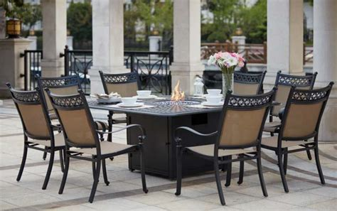 patio furniture dining set cast aluminum sling chairs 64