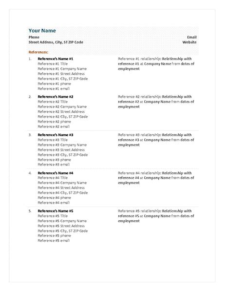 reference sheet template functional resume reference sheet