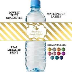 wine stopper wedding favors custom water bottle labels real metallic print lowest