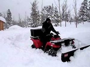 Atv Plowing 3 Feet Of Snow  Kawasaki Prairie 400