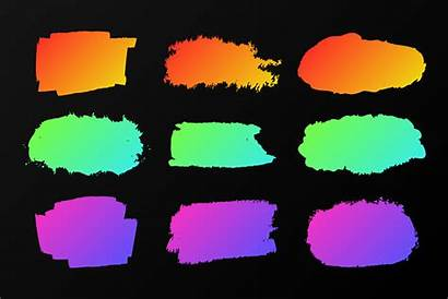Neon Paint Colorful Vector Stains Marker