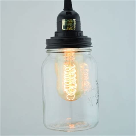 Regular Mouth Mason Jar Pendant Light Kit Black Cord