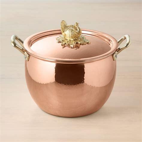 ruffoni historia copper stock pot  turkey finial williams sonoma