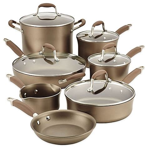 cookware anolon nonstick anodized piece hard advanced umber pans pots sets tomato bedbathandbeyond beyond bath bed pan skillet bacon grilled