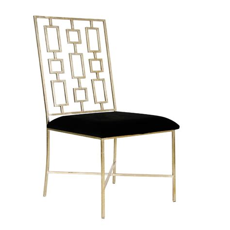 worlds away silver leaf dining chair with black velvet seat