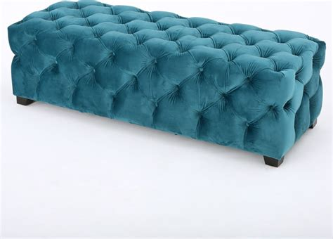 teal tufted ottoman provence dark teal tufted velvet fabric rectangle ottoman