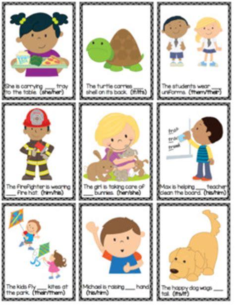 possessive pronoun grammar cards   autism helper tpt
