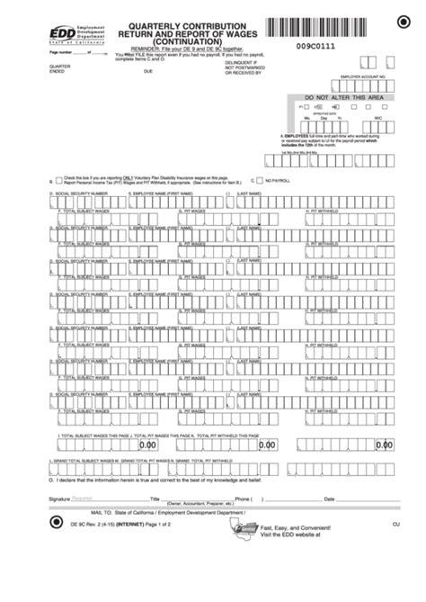 w 9 form pdf 2015 download form de 9c with instructions quarterly contribution