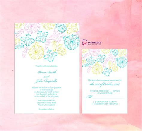 FREEDownload Spring Blooms Wedding Invitation and
