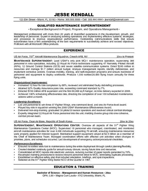 Maintenance Engineer Resume Objective by Exle Maintenance Superintendent Resume Sle