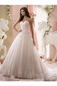 classy ball gown strapless drop waist tulle lace wedding With drop waist wedding dress