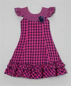 Navy Gingham Dress Girls