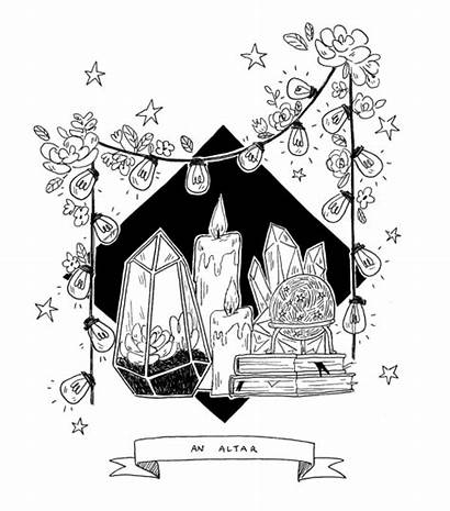 Witchy Witch Altar Drawing Inktober Aesthetic Modern