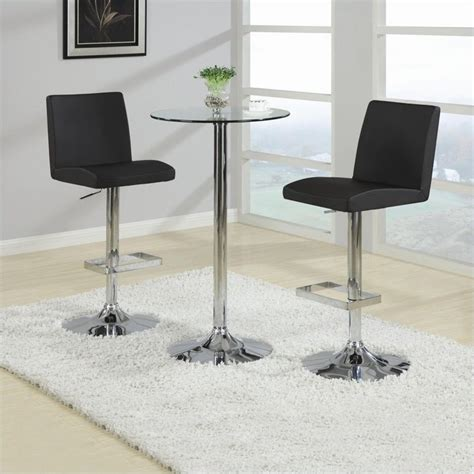 glass pub table set coaster table with tempered glass top 3 piece pub set