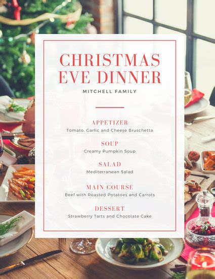 red bordered fancy table christmas food  drink menu