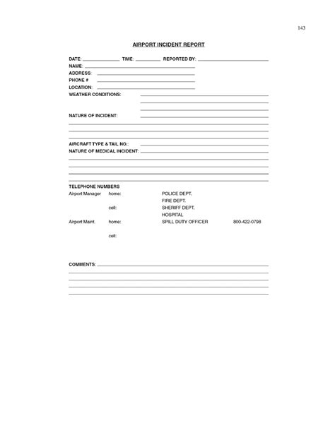 Incident Report Book Template