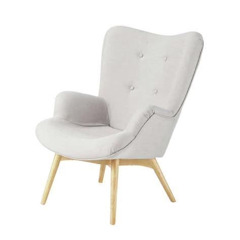 fauteuil vintage en tissu gris clair iceberg maisons du