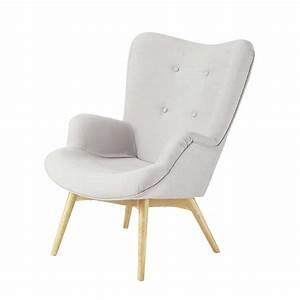 Fauteuil Scandinave Tissu : fauteuil scandinave en tissu gris clair iceberg maisons du monde ~ Teatrodelosmanantiales.com Idées de Décoration