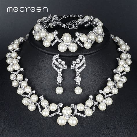 mecresh simulated pearl bridal jewelry sets