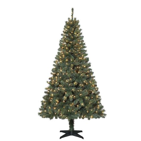 6 5 ft verde spruce artificial christmas tree with 400 clear lights tg66m2v36c00 the home depot